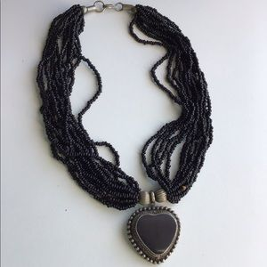 Vintage Ethnic Black Heart seed Bead Necklace